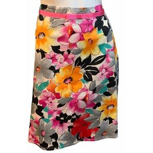 Lily Pink/Yellow Floral Print A-Line Skirt 14